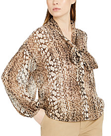 INC Snake-Print Bow Blouse, Created for Macy's