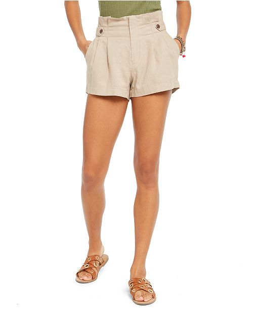 Rewash Juniors' Button-Tab Paper-Bag Waist Shorts