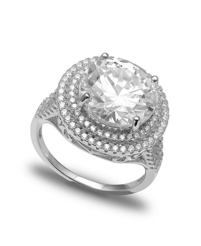 Macy's - Cubic Zirconia Double Pave Row Ring (7-1/2 ct. t.w.) In Sterling Silver