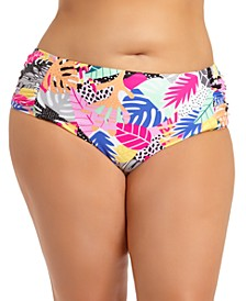 Trendy Plus Size Printed Bikini Bottoms, Created for Macy's