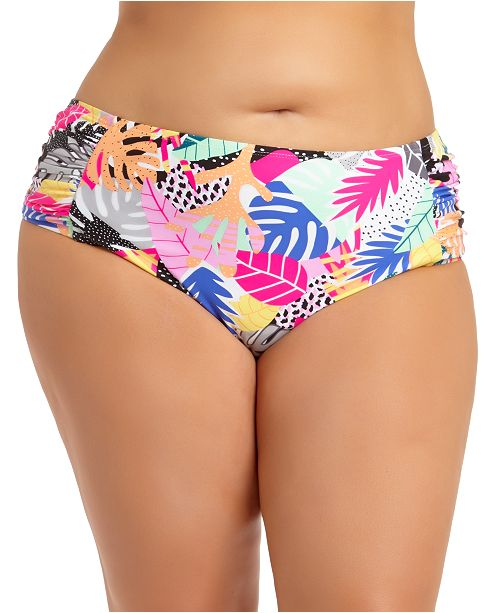 California Waves Trendy Plus Size Printed Bikini Bottoms, Created for Macy's