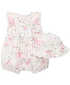 Baby Girls 2-Pc. Cotton Floral Romper & Hat Set
