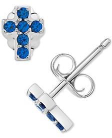 Sapphire Cross Stud Earrings (1/4 ct. t.w.) in 14k White Gold