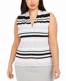 Plus Size Striped V-Neck Top