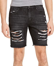 INC Men's Ripped Black Denim Shorts, Created for Macy's