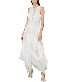 Andi Asymmetrical Striped-Lace Dress