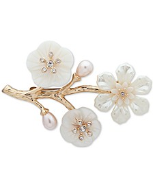 Gold-Tone Pavé & Mother-of-Pearl Flower Branch Pin