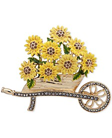 Gold-Tone Pavé Sunflower Cart Pin