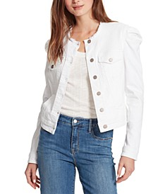 Puffed-Shoulder Denim Jacket