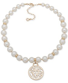 """Gold-Tone Lion Charm Imitation Pearl Collar Necklace, 16"""" + 3"""" extender"""