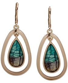 Gold-Tone Turquoise-Look Stone Orbital Drop Earrings