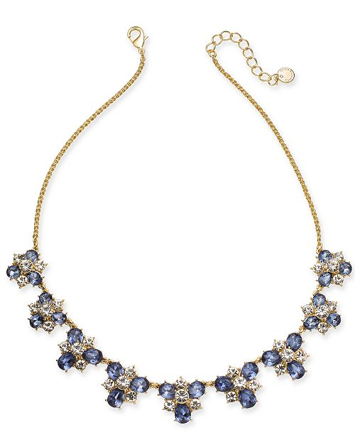 """Charter Club Gold-Tone Crystal & Stone Cluster Necklace, 17"""" + 2"""" extender, Created For Macy's"""