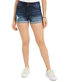 Juniors' Ripped Cuffed Denim Shorts