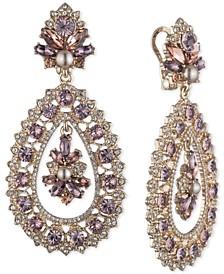 Gold-Tone Crystal & Imitation Pearl Ornate Chandelier Earrings