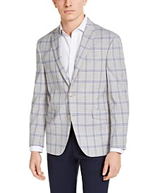 Men's Slim-Fit Stretch Light Gray & Navy Plaid Sport Coat, Created for Macy's