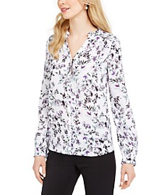 Paris Floral-Print Button-Down Blouse
