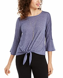 Juniors' Crochet-Trimmed Tie-Front Top with Necklace