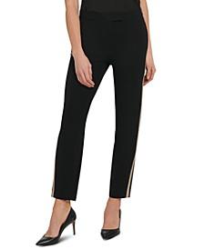 Tuxedo-Stripe Straight-Leg Pants