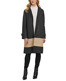 Colorblocked Cotton Trench Coat