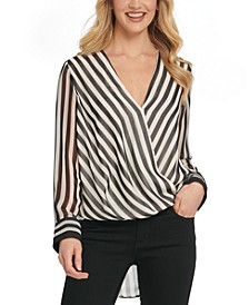 Surplice Striped High-Low Blouse