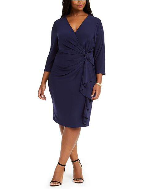 Jessica Howard Plus Size Ruched Jersey Dress