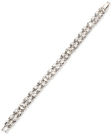 Silver-Tone Crystal Double-Row Flex Bracelet