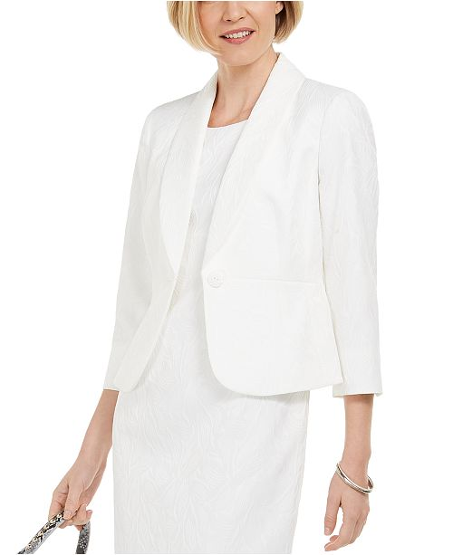 Kasper 3/4-Sleeve Textured-Leaf Blazer