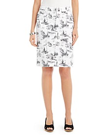 Petite Printed Denim Tummy-Control Skirt, Created For Macy's