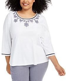 Plus Size Easy Street Gingham Trim Beaded Top