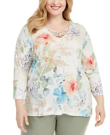 Plus Size Chesapeake Bay Printed Strappy-Neck Top