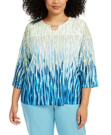 Plus Size Easy Street Printed Lace-Sleeve Top