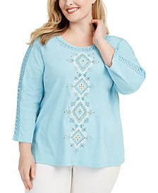 Plus Size Chesapeake Bay Embroidered Knit Top