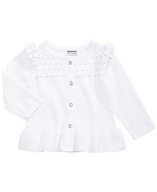 Little Girls Cotton Ruffled Cardigan