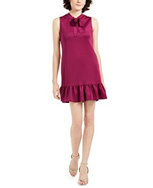 Petite Tie-Neck Flounce-Hem Dress
