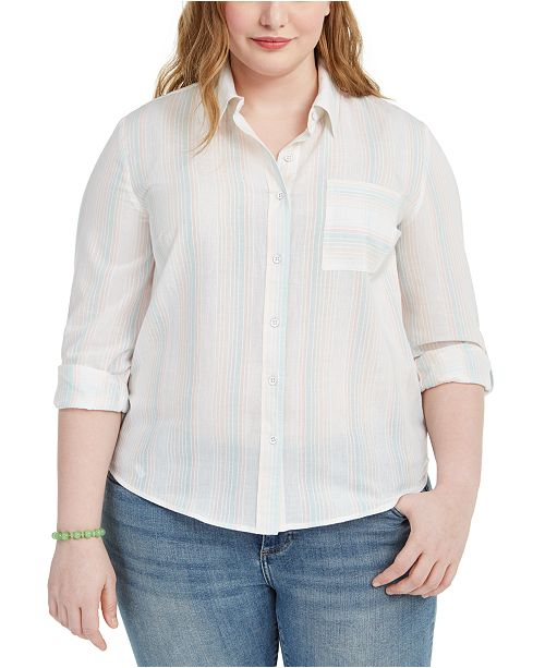 Style & Co Plus Size Striped Shirt, Created for Macy's