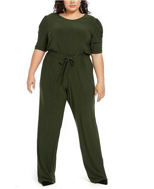 NY Collection Plus Size Tie-Front Jumpsuit