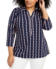 Plus Size Printed Polo, Created for Macy's