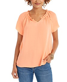 Petite Ruffled-Trim Flutter-Sleeve Top, Created For Macy's