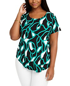 Petite Printed Round-Hem T-Shirt, Created for Macy's