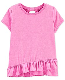 Little & Big Girls Glitter Ruffle-Hem T-Shirt