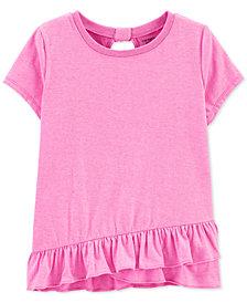 Carter's Little & Big Girls Glitter Ruffle-Hem T-Shirt