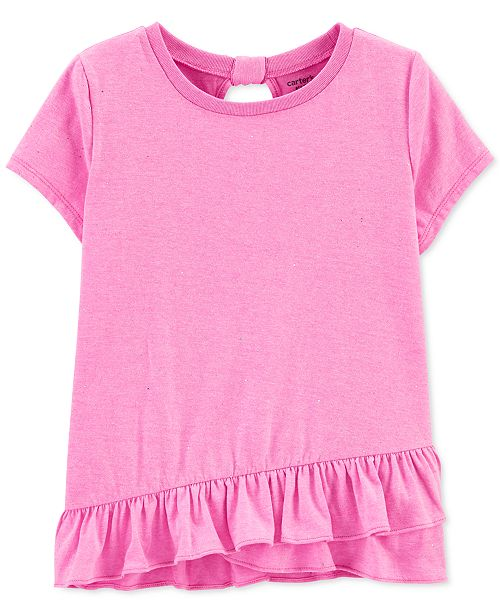 Carter's Little & Big Girls Glitter Ruffle-Hem T-Shirt
