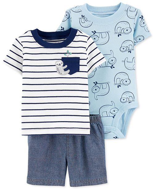 Carter's Baby Boys 3-Pc. Cotton Sloth T-Shirt, Bodysuit & Shorts Set