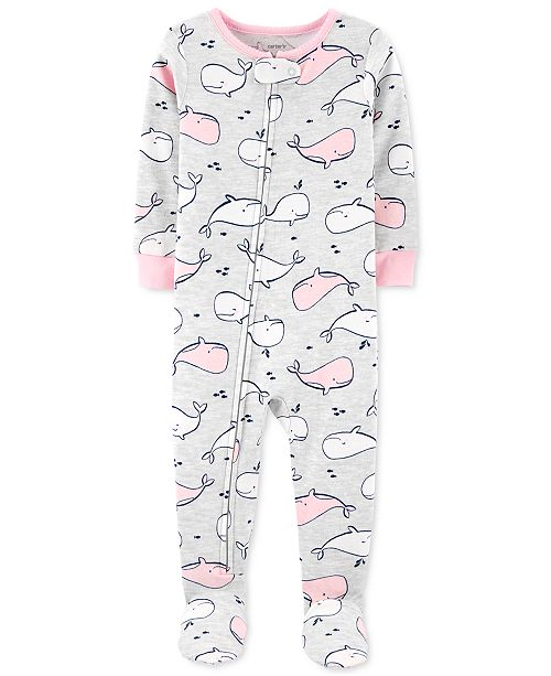 Carter's Baby Girls 1-Pc. Whale-Print Cotton Footed Pajamas