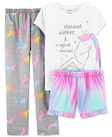 Little & Big Girls 3-Pc. Unicorn Pajamas Set