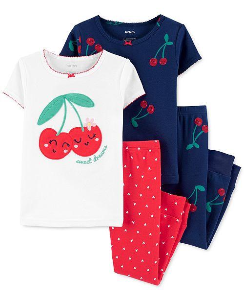 Carter's Toddler Girls 4-Pc. Cherries Cotton Pajamas Set
