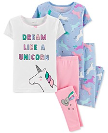 Toddler Girls 4-Pc. Unicorn Cotton Pajamas Set