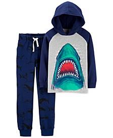 Little & Big Boys 2-Pc. Cotton Shark-Print Hooded T-Shirt & Printed Jogger Pants Set