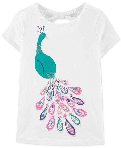Carter's Little & Big Girls Peacock-Print Bow-Back Cotton T-Shirt