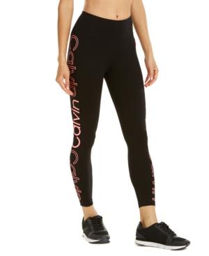 Calvin Klein Performance Logo High-waist Leggings In Neon Calypso Combo